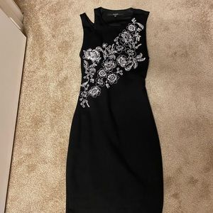 Black open back embroidered Guess dress